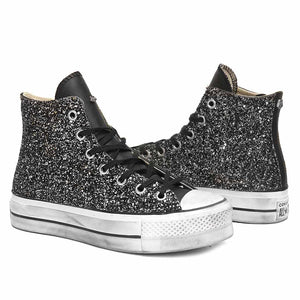 scarpe converse All Star alte con brillantini nere