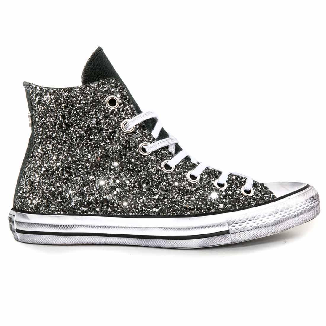 converse all star alte con glitter nero