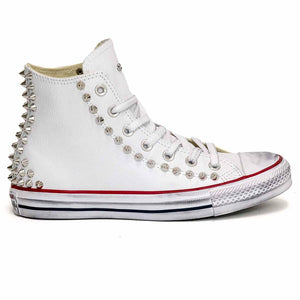 converse all star alte in pelle bianche borchiate
