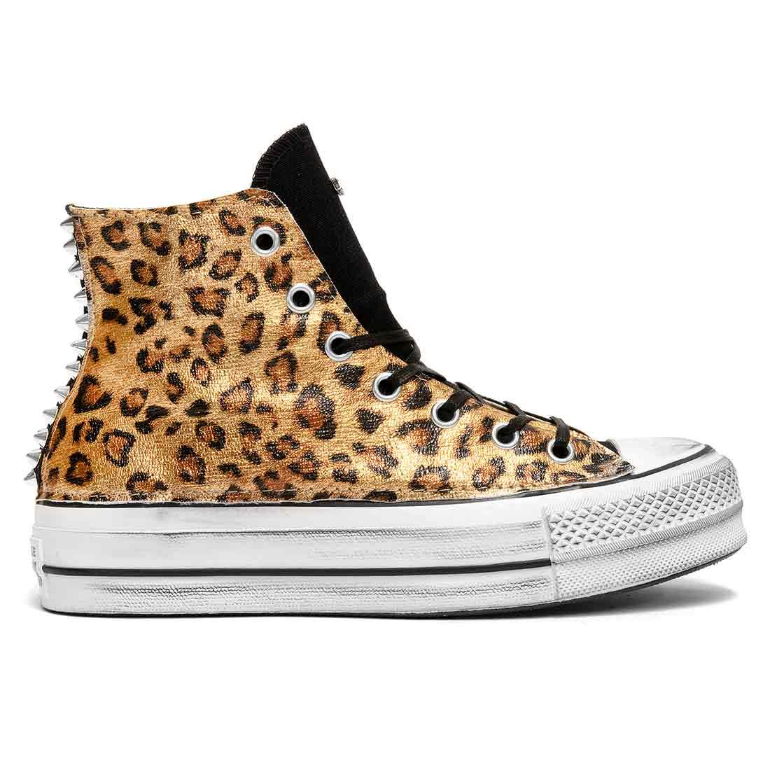 converse all star alte  leopardate oro metallizzato borchie