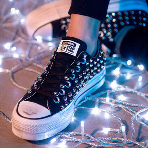 scarpe converse all star basse borchiate nere