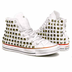 converse all star custom con borchiette a piramide argento