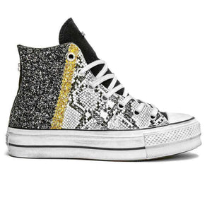 converse all star con glitter oro e nero pitonate