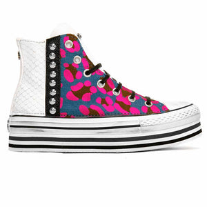 converse all star personalizzate in denim leo con rosa reflective