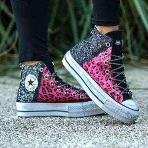 all star alte leopardate rosa con brillantini