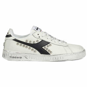 scarpe diadora game low con borchie e logo nero