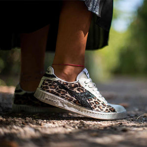 sneakers diadora game low custom leopardate con glitter nero