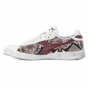 diadora game low custom effetto pitone e glitter bordeaux