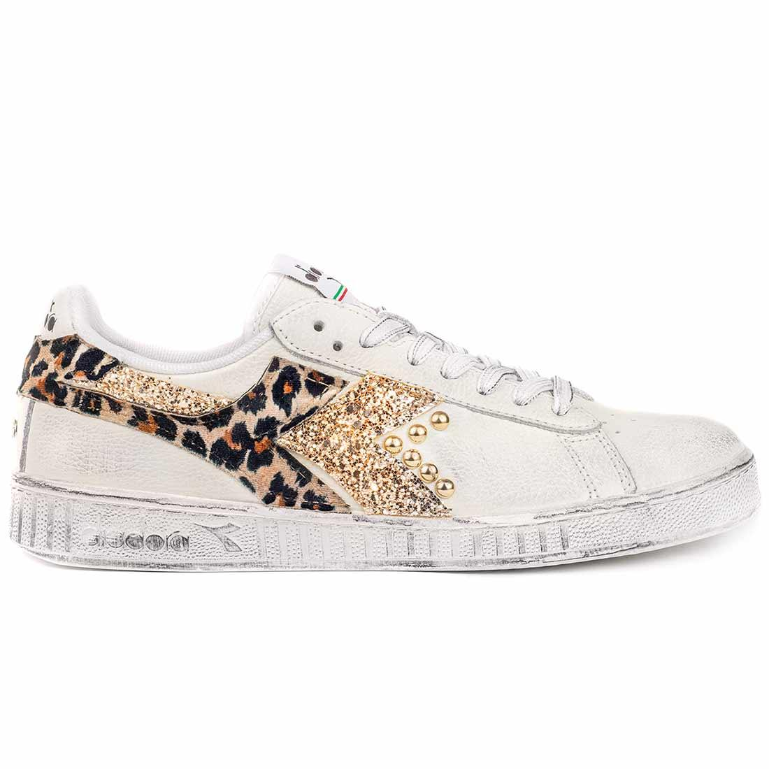 scarpe diadora game low maculate con glitter oro