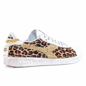 diadora game low glitter oro effetto leopardate
