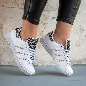 scarpe adidas stan smith custom con borchie e animalier leopardato