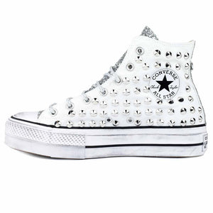 scarpe all star alte con borchie e brillantini argento