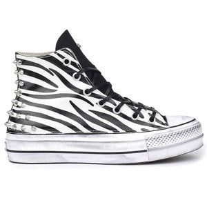 scarpe converse all star animalier zebra con borchie
