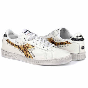 scarpe diadora game low borchiate animalier leo oro