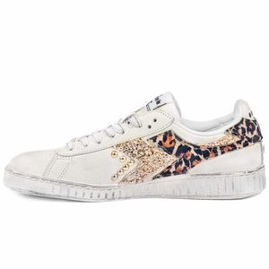 sneakers diadora game low leopardate con brillantini oro e borchie oro