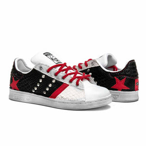 sneakers adidas stan smith con pitone nero e rosso
