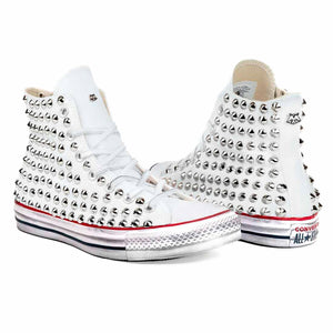 sneakers converse all star alte personalizzate con borchie in tela bianca