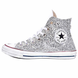 snakers converse alte bianche con glitter argento