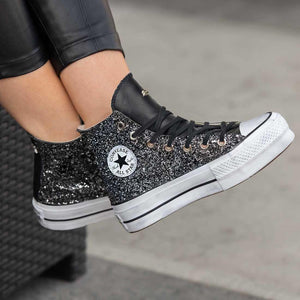 sneakers converse customizzate brillantini neri