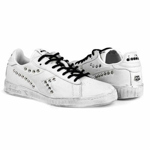 sneakers diadora game low custom con borchie argento