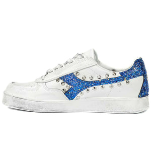 sneakers personalizzate diadora b.elite borchie glitter blu borchiate glitterate custom by Racoon-LAB_INT