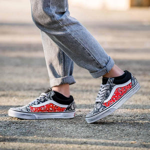 vans oldskool low personalizzate con bandana red