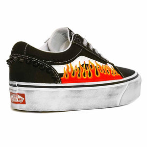 vans ward platform basse personalizzate patch fuoco