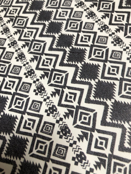 Rustic Black Aztec Printed Leather