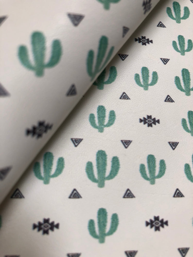 Southwestern Cactus Printed Leather