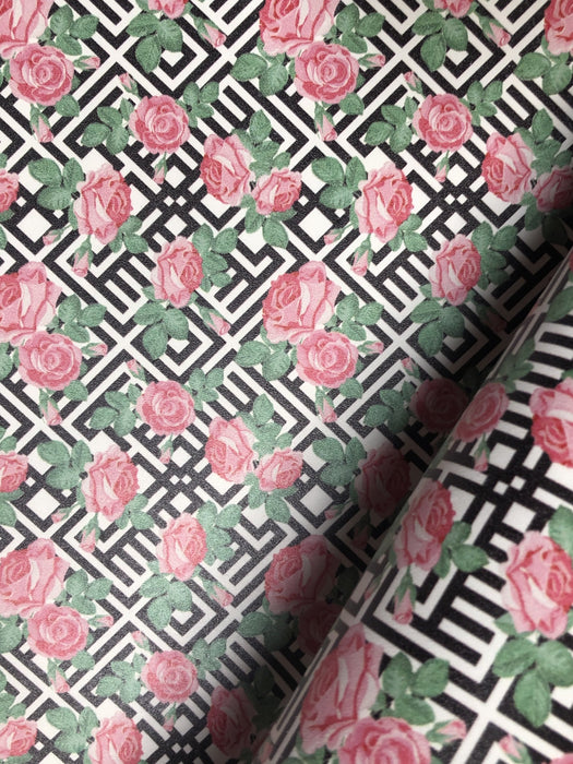 Geometric Pattern with Roses Printed Leather