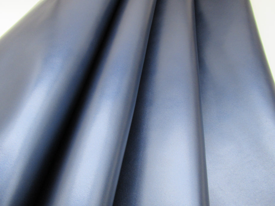 Frosted Metallic Navy Cowhide Leather Side