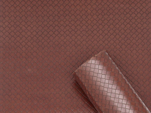 Brown Woven Embossed Cowhide Leather