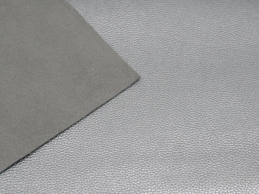 Metallic Silver Pebble Grain Leather 3 oz-4 oz