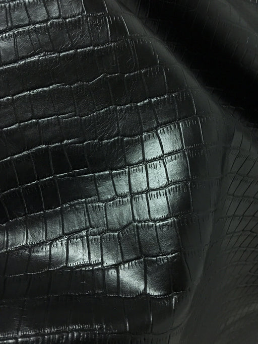 Black Crocodile Embossed Cowhide