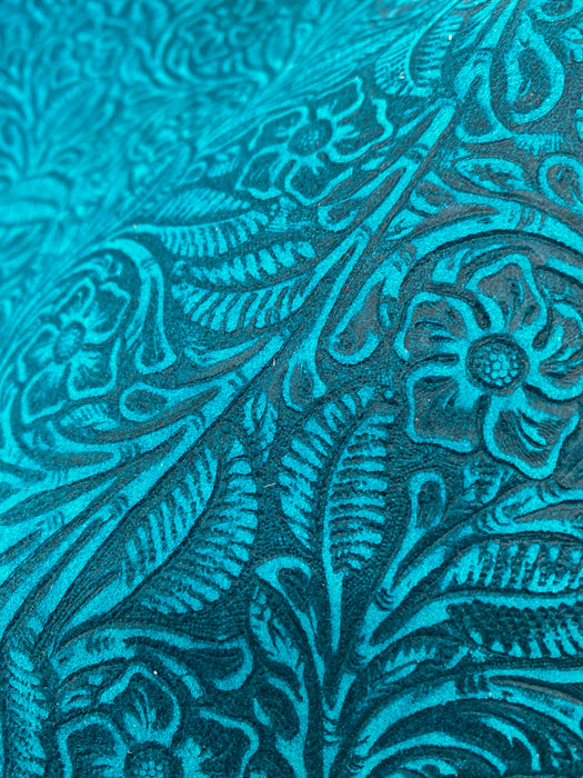 Teal Floral Embossed Suede Leather Sheets 3-4oz (1.2-1.6mm)