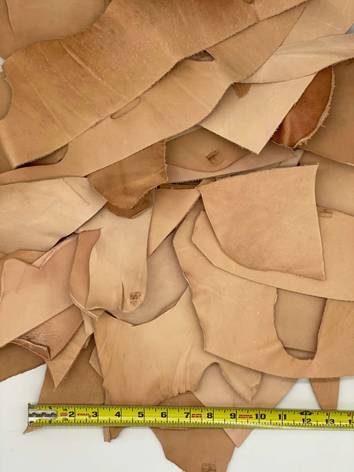 5lbs Veg Tan Leather Scrap - Imperfect Pieces