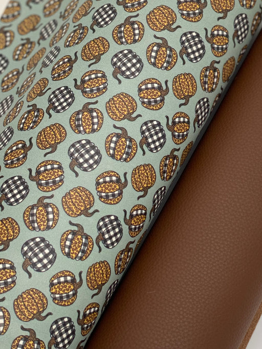Leopard and Buffalo Plaid Pumpkin Printed Leather