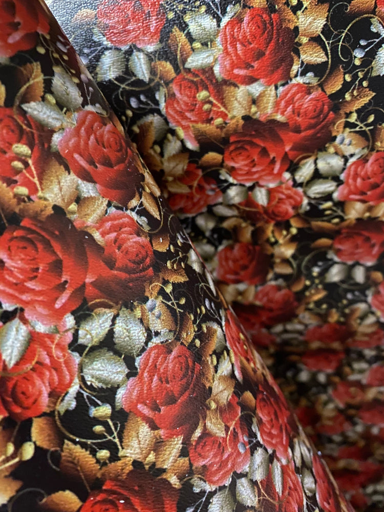 Dark Roses Printed Marine Vinyl Faux Leather