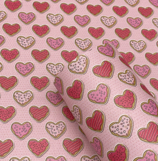 Heart Sugar Cookies Printed Marine Vinyl Faux Leather