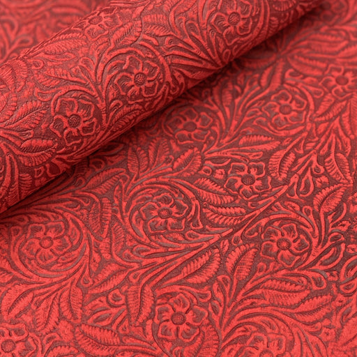 Red Floral Embossed Suede Leather Sheets 3-4oz (1.2-1.6mm)