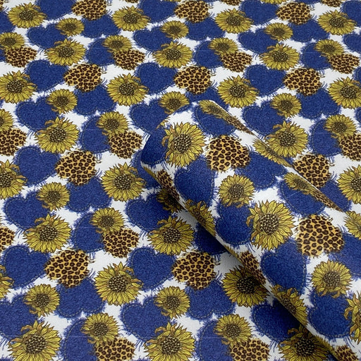 Denim Sunflower Printed Marine Vinyl Faux Leather