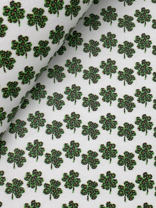 Leopard Shamrock Printed Marine Vinyl Faux Leather