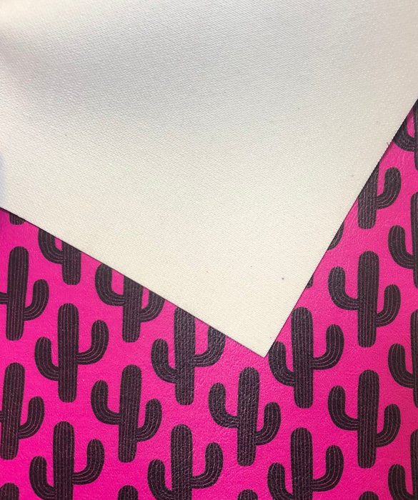 Hot Pink Saguaro Cactus Printed Marine Vinyl Faux Leather