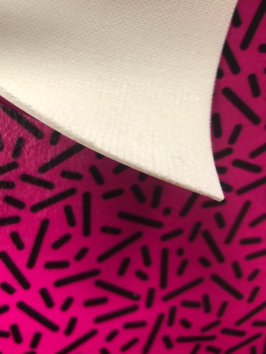 Neon Pink & Black Sprinkles Printed Marine Vinyl Faux Leather
