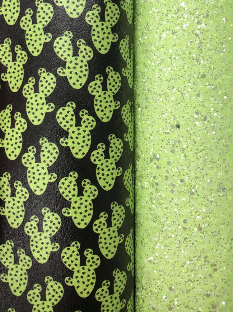 Bright Green Cactus Printed Marine Vinyl Faux Leather