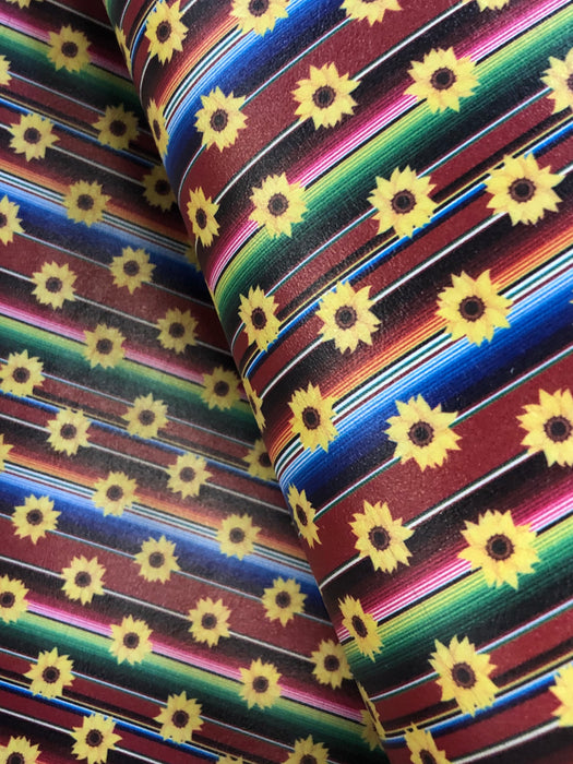 Serape Sunflower Printed Marine Vinyl Faux Leather
