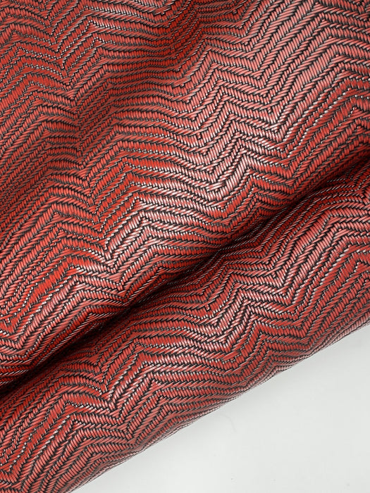 Basket-weave Embossed Cowhide Side - Red