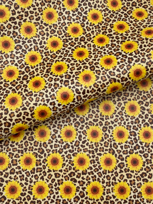 Sunflower Cheetah Printed Marine Vinyl Faux Leather