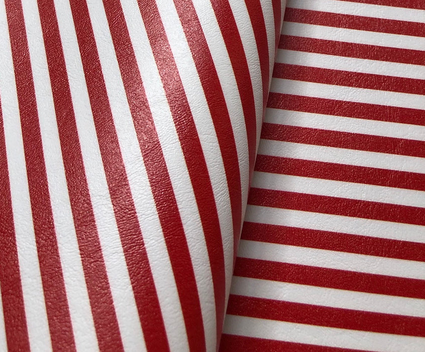Printed Marine Vinyl - Red & White Striped Faux Leather