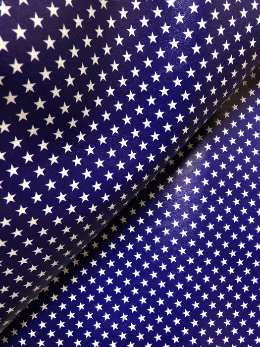 Navy with Stars Printed Marine Vinyl Faux Leather